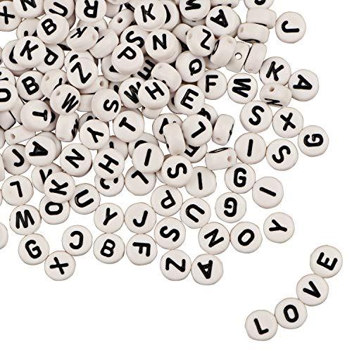 1200pcs letras del alfabeto de acrílico de color A-Z Cube los granos con 1 hilo de seda para joyería Hacer a los niños DIY collar pulsera