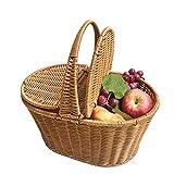 LIANGJING Cesta de la compra de mano de plástico WovenRattan de gran capacidad de almacenamiento de frutas y verduras