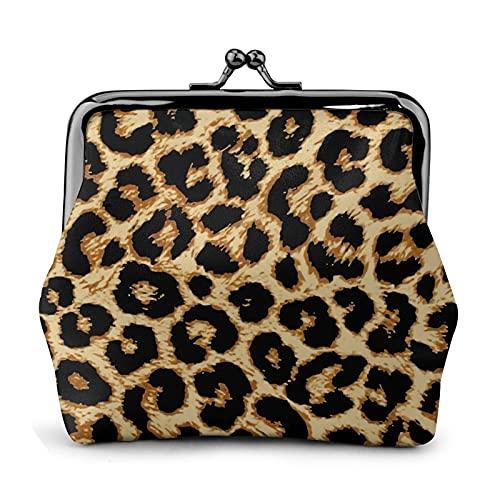 Monedero monedero de cuero de la PU bolsa increíble leopardo mujer cartera embrague bolso señoras retro vintage impresión pequeño cerrojo