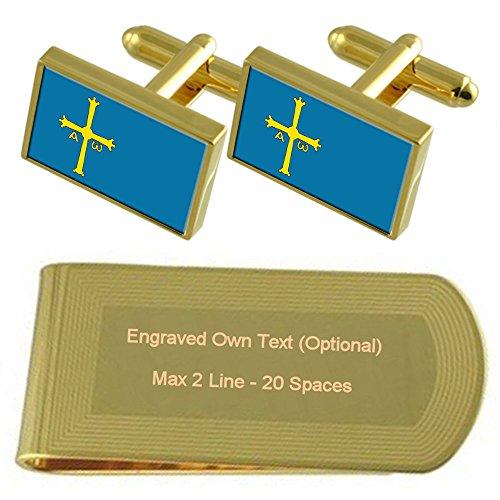 Select Gifts Asturias Bandera Tono Oro Gemelos Money Clip Grabado Set de Regalo