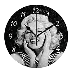 simono 10-inch Silent Non-Ticking Round Wall Clocks Smiling Marilyn Monroe Prints Desk Clock, Battery Operated Easy to Read Clock for Living Room Home Office