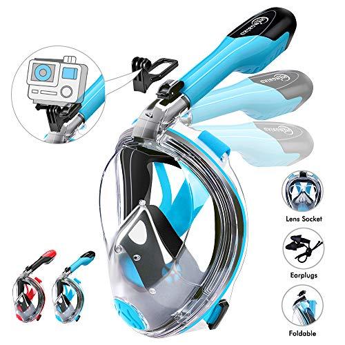 HENGBIRD Tauchmaske Version 3.0 Vollgesichtsmaske mit Gläserstütze Sportkamera Halterung Antibeschlag Schnorchelmaske Tauchermaske für Erwachsene und Kinder insbesondere Brilleträger (Blau M)