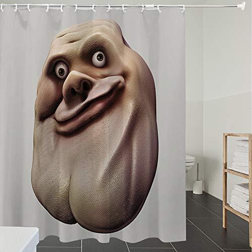 Derun Duschvorhänge, Textil Bad Vorhang aus Polyester, Anti-Schimmel, Humor-Dekor, peinliches Meme-Gesicht mit ungewöhnlicher Gesichtsgeste, hässliches,Blickdicht, Wasserdicht, Waschbar, 180X200cm
