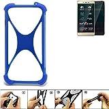 K-S-Trade® Handyhülle Für Allview P7 Pro Silikon Schutz Hülle Cover Case Bumper Silikoncase TPU Softcase Schutzhülle Smartphone Stoßschutz, Blau (1x),