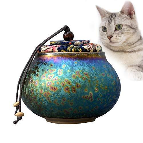 ZYHJAMA Mini-Keramik-Urne, Mensch oder Haustier Katze Hund Asche Einäscherung Urne Erwachsene und Tierurnen Gedenkurne