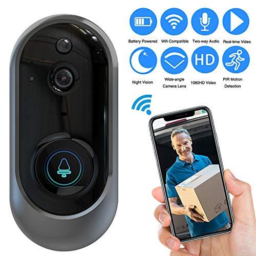 Deurbel Camera Wi-fi Draadloos, Video Deurbel Draadloze Wifi Chime, 720P HD Smart Deurbel, Home Beveiliging Systeem met Monitoring, PIR Bewegingsdetectie, Tweerichtingsgesprek, Nachtzicht