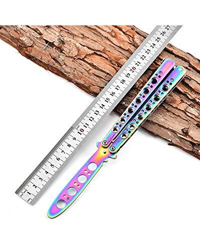 Rainbow Butterfly Trainer Kamm Übung Messer, Ungeschärfte Klinge Übungs Trainings Butterfly Balisong Knife Trainer (Rainbow Butterfly Messer)