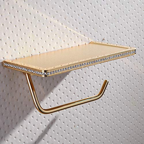JONTON Badezimmer Plattform Papierrolle Kupfer Gold Handy Papier Handtuchhalter Papier Handtuchhalter Hotel Rolle Papier mit Kristall