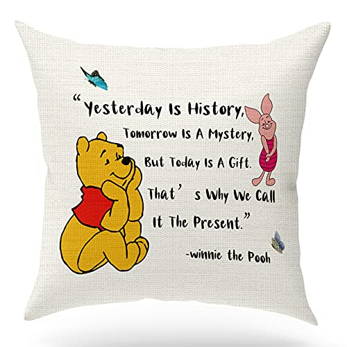KongMoTree Winnie The Pooh Quotes Pillow Covers,Gifts for Friends Sisters Girl Daughter Son, Linen Decorative Pillows Covers Case for Sofa Bedroom Room Office Decor,18x18 inch