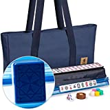 Yellow Mountain Imports American Mahjong Game Set - Santorini - with Blue Soft Case, All-in-One Racks with Pushers, Dice, Wind Indicator & Wright Patterson Scoring Coins