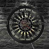 CVG 1 Pieza Ruleta Entretenimiento Juegos de Azar Disco de Vinilo Reloj de Pared con retroiluminación LED Juego de Cartas Juego de póker Iluminación Decorativa