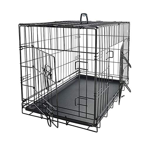 Dog Crates for Small Dogs  Dog Crate 24quot Pet Cage DoubleDoor Best for Puppy amp Kitten Pets  Wire Metal Kennel Cages with Divider Panel amp Tray  Indoor Foldable amp Portable for Animal OutDoor Travel