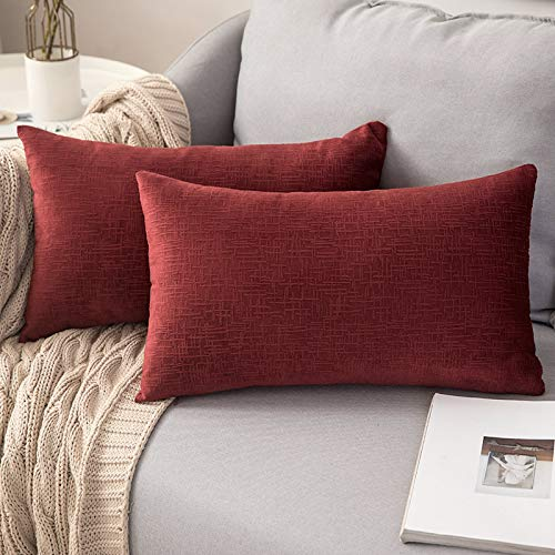 MIULEE Velvet Cushion Covers Throw Pillow Cases Soft Striped Pillowcase Solid Decorative Soft Soild Winter for Sofa Bed Couch Outdoor 12x20 inches 30x50 cm, Red Pack of 2