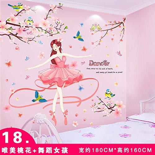 Papel pintado autoadhesivo dormitorio decoración de la habitación pegatinas de pared stickers-18. Hermosa flor de durazno + bailarina_Extra grande