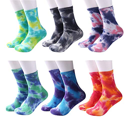 shengo Lustigen Unisex-Socken mit Batik-Motiv Baumwolle Socken Crew-Socken Herren Socken Damensocken Paar Socken Freizeit Sport Socken für Skateboard (Farbe3# 6 Paar)