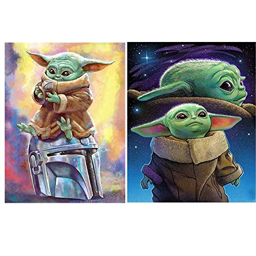 2 Pack 5D Diamond Painting Kits for Kids, DIY 5D Round Full Drill Cross Stitch Crystal Rhinestone Embroidery, Paint by Number The Mandalorian Child Headshot (B)