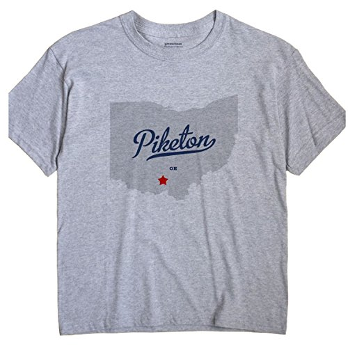 GreatCitees Piketon Ohio T-Shirt MAP XL Grey