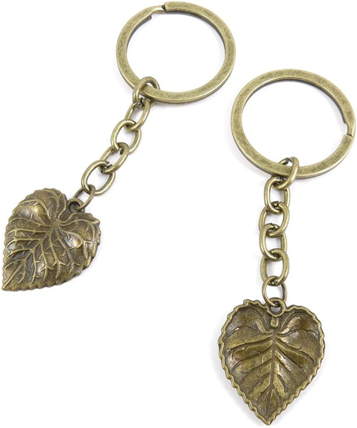 100 PCS Keyrings Keychains Key Ring Chains Tags Jewelry Findings Clasps Buckles Supplies Z4FM4 Tree Leaf