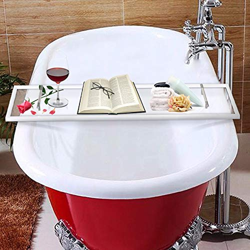Luxury Bathtub Caddy, Clear Acrylic Bath Tray With Rust-Proof Stainless Steel Handles, Bath Accessories Tray, Bath Tub Organizer For Soap, Wine Glass, Book, Tablet, Towel and More (White)