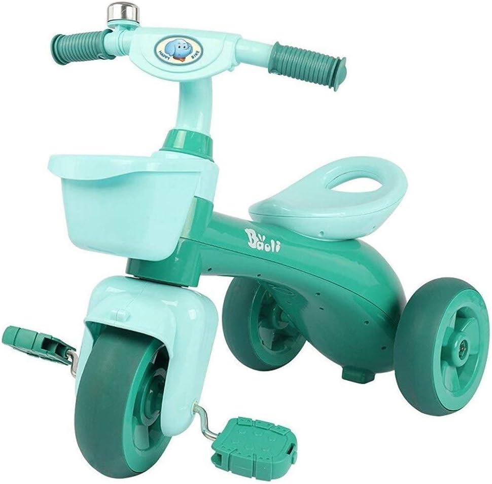 XLAHD Triciclo, Scooter para niños, Andador, Triciclo, Bicicleta, 1-3-5 años, bebé, Juguete, Coche, Asiento portátil, Regalo (Color: Verde)