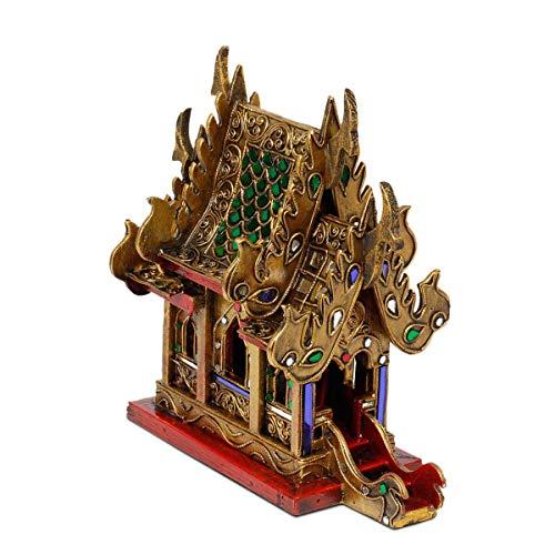 Oriental Galerie geweihtes Geisterhaus Schrein der Erdgeister SanPhra Phum Geisterhäuschen Naturgeister Thailand ca. 25 cm Gold Rot mit Grünen Spiegelsteinen Holz