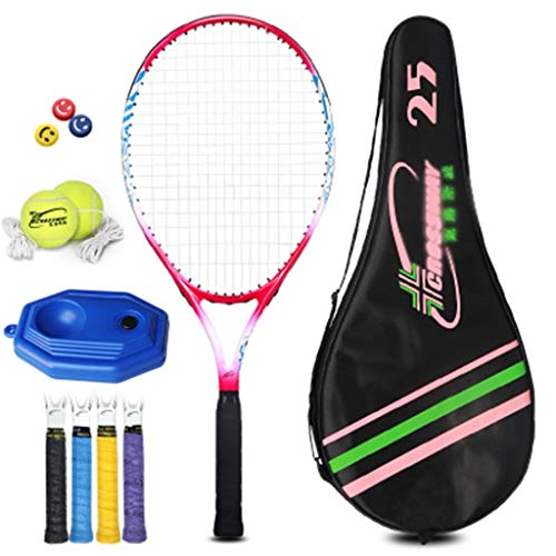 Raquetas De Tenis Para Niños Traje Individual para Principiantes Adultos Carbono De 25 Pulgadas Duradera (Color : Red Plus Blue, Size : 25 Inches)