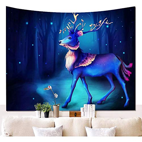 CHSUNHEY tapisserie Ethnic Deer with Light Tapestry Psychedelic Blue And Purple Deer Forest Print Wall Tapestry Colorful Deer Run To Universe Wall Hanging Bohemian Mandala Wall Blanket Wall Cloth Deco