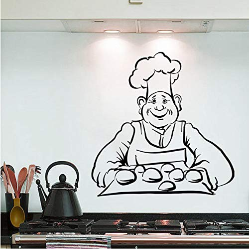 hwhz 57 X 58 cm Wall Sticker Chef Bread Baking Wall Decal Kitchen Interior Design Wall Art Mural Bread Cafe Shop Decoration Vinyl Sitcker