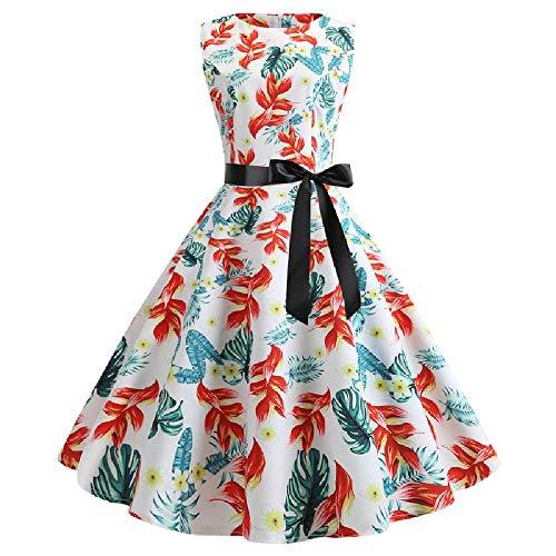 U/A Retro Sleeveless Round Neck 50s Printed Swing Dress