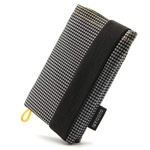 GUGGIARI® Portafoglio Slim Uomo, Morbido e Flessibile, dotato di un Sistema di Protezione RFID - Porta Carte di Credito, Contanti e Chiavi. (Microfibra, Grey - Pied de Poule)