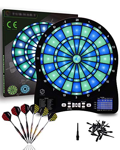 Turnart Electronic Dart Board,13 inch Illuminated Segments Light Based Games Electric Dartboard for Adults Tested Tough Segment for Enhanced Durability Professional with Scoring
