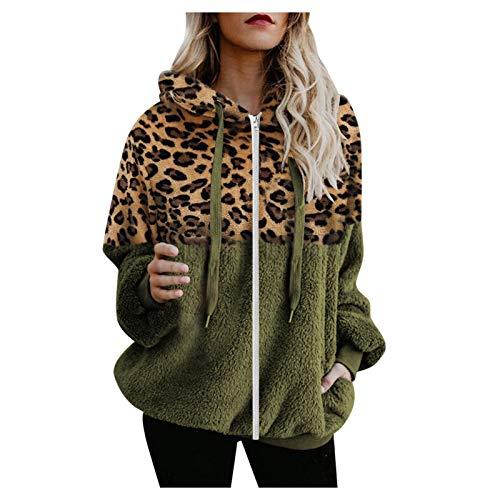 Vexiangni Chaqueta de forro polar para mujer, chaqueta de punto, chaqueta de piel sinttica, chaqueta con capucha, chaqueta de punto con cremallera, abrigo de invierno, verde, XXXXXL