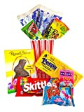 Easter Movie Night Gift Set Gift Basket (Color May Vary) Family Easter Basket, Chocolate, Candy, Jelly Beans, Peeps, Popcorn - Best Present for Kid, Children, Adults, Family, Him, Her (Basket 1)