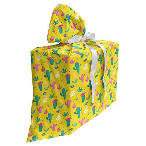 ABAKUHAUS Cactus Cadeautas voor Baby Shower Feestje, Jungle Flowers palmbladeren, Herbruikbare Stoffen Tas met 3 Linten, 70 cm x 80 cm, mosterd Pink