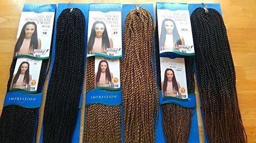 Ombre Noir Marron 1b33 Noir Couleur 1b Impression de Tresse pour crochet sénégalais. 45,7 cm
