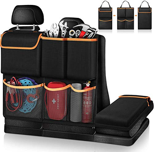 FINTIE Organizador Maletero Coche, 3 in 1 Plegable Bolsa de Almacenamiento de Coche con Cremallera, Multi-Bolsillos Gran Capacidad Organizador del Respaldo Asiento, para SUVs, Vehículos