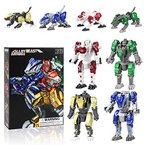 Bogeer [ New Pack ] Transform Robot Kids Toys, 4 Pcs Mini Robot Toys, Transformation Alloys Robot, Double Morphological Transformations Robot Toys for Kids Children 3+ Years