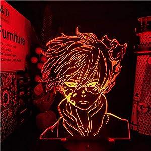 Beautiful Gift 3D nightlight Illusion lamp,Hero Academia Todoroki Shoto Fire Ice Anime LAMP Lamparas for Boys and Girls(Remote Control)