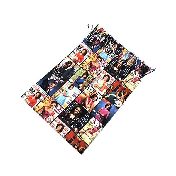 Magazine Cover Collage Michelle Obama Printed Scarf for Women Lightweight Shawl Head Wraps Scarves