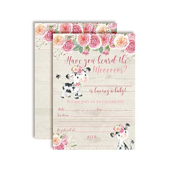 Watercolor Pink Floral Cow-Themed Baby Sprinkle Shower Invitations, 20 5″x7″ Fill in Cards with Twenty White Envelopes by AmandaCreation