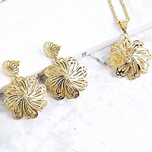 WSBDZYR Co.,ltd Collar de Moda Clásico Conjuntos de Joyas de Boda para Mujeres Pendientes Collar Colgante Flor Grandes Conjuntos de Joyas Aniversario Joyas Regalos Collar Longitud 45cm