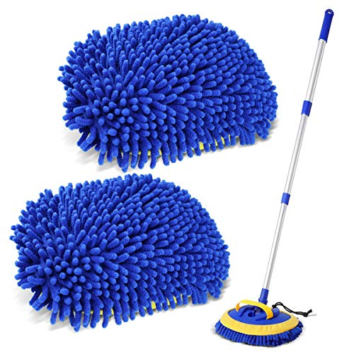 Sfumoc 2 in 1 Extendable Car Wash Brush Kits Mop with Long Handle, Chenille Microfiber Car Cleaning Kit Brush Duster-Scratch Free- car wash Tools for Washing Truck, Car, RV(Blue)