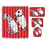 EZEZWSNBB Cortina de Ducha Anti-Molde 4 Piezas Tatuaje de Perro Animal Anillos de Cortina Impresión Digital en 3D Antideslizante Alfombra de baño + Estera del tocador + Estera de Contorno