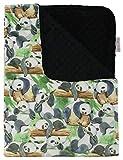 Baby Blanket - Traveling Panda Bears on Tree with Black Minky Dot