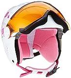 ALPINA Kinder Carat Visor Skihelm, White-Pink, 54-58 cm