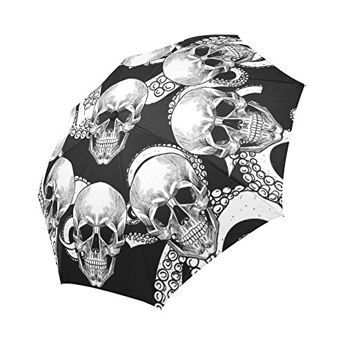 InterestPrint Skull and Tentacles of Octopus Windproof Automatic Open and Close Folding Umbrella, Unbreakable Portable Outdoor Travel Compact Umbrella with UV Protection