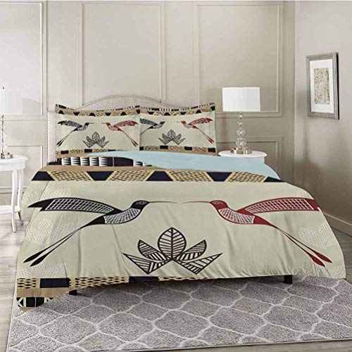 YUAZHOQI Duvet Cover Set, Image of Bamboo and Hummingbirds Geometric Pattern Traditional Tribal Art, Decorative 3 Piece Bedding Set with 2 Pillow Shams, Twin Size