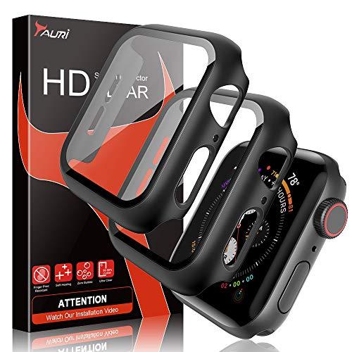 TAURI [2 Stück Hülle Mit Panzerglas Displayschutz Für Apple Watch 42mm Series 3/2/1, 360° Rundum Schutzhülle, Ultradünne PC Hardcase für iWatch 42mm