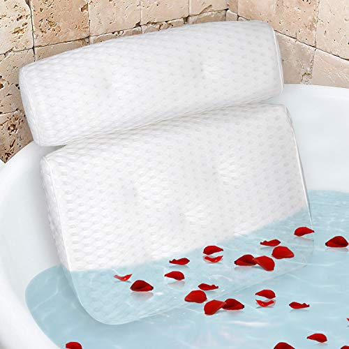 Bath Pillow, Madlie Luxury White Bathtub Pillow Rest with 7 Powerful Suction Cups & Hook for Tub Neck and Back Support, Spa Pillow for Bathtub, Hot Tub Pillow