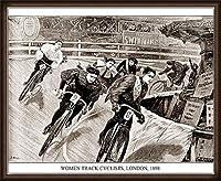 ポスター アーティスト不明 Women Track Cyclists 1898 額装品 ウッドハイグレードフレーム(オーク)